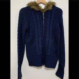 3/$20 cable knit hooded zipper sweater